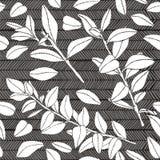 Modèle sans couture de feuille et de branches, silhouette tirée par la main illustration stock