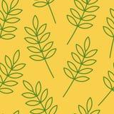 Modèle sans couture de feuille de vecteur avec le fond jaune illustration stock