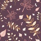 Modèle sans couture de feuilles d'automne avec le fond brun-rougeâtre Images libres de droits