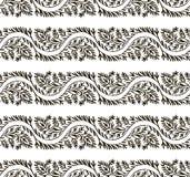Modèle sans couture de feuilles noires et blanches illustration stock