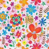 Modèle sans couture de fleur de coccinelle de papillon de libellule d'oiseau illustration stock