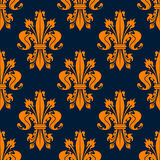Modèle sans couture de fleur de lis bleue et orange Photo stock