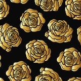Modèle sans couture de fleur de Rose Roses d'or sur le fond noir St Image stock