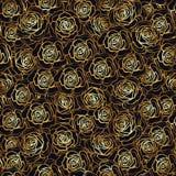 Modèle sans couture de fleur de Rose Roses d'or sur le fond noir St Image libre de droits