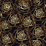 Modèle sans couture de fleur de Rose Roses d'or sur le fond noir St Photographie stock libre de droits
