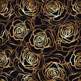 Modèle sans couture de fleur de Rose Roses d'or sur le fond noir St Photographie stock