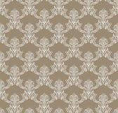Modèle sans couture de fleur royale blanche sur le brun illustration stock