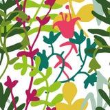 Modèle sans couture de fleur simple exotique de griffonnage Image stock