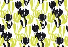 Modèle sans couture de fleur tirée par la main de tulipe illustration libre de droits