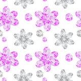 Modèle sans couture de fleurs de gemmes Photo libre de droits