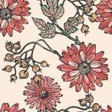 Modèle sans couture de fleurs et de baies de vintage illustration de vecteur