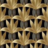 Modèle sans couture de fleurs rayées modernes CCB floral noir de vecteur Images libres de droits