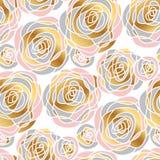 Modèle sans couture de fleurs roses tirées par la main de résumé Images stock