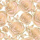 Modèle sans couture de fleurs roses tirées par la main de résumé Photo libre de droits
