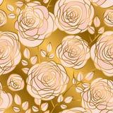 Modèle sans couture de fleurs roses tirées par la main de résumé Images libres de droits