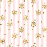Modèle sans couture de flocon de neige d'or de Noël Flocons de neige d'or de scintillement sur les lignes blanches roses fond Tex Photos stock
