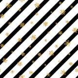 Modèle sans couture de flocon de neige d'or de Noël Les flocons de neige d'or de scintillement sur la diagonale blanche noire ray Image stock
