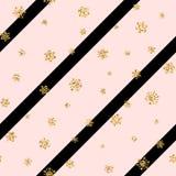 Modèle sans couture de flocon de neige d'or de Noël Les flocons de neige d'or sur la diagonale rose et noire raye le fond Neige d Image libre de droits