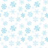 Modèle sans couture de flocon de neige noir et blanc tiré par la main Images stock
