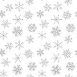 Modèle sans couture de flocon de neige noir et blanc tiré par la main Image libre de droits