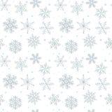 Modèle sans couture de flocon de neige tiré par la main Images stock