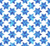 Modèle sans couture de flocons de neige d'aquarelle Flocons de neige bleus sur un fond blanc Photographie stock