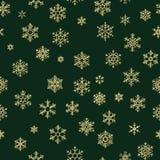 Modèle sans couture de flocons de neige d'or d'hiver de Joyeux Noël et de bonne année ENV 10 illustration de vecteur