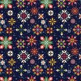 Modèle sans couture de flocons de neige floraux de Noël Photos libres de droits