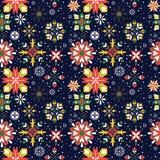 Modèle sans couture de flocons de neige floraux de Noël Photographie stock libre de droits