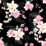 Modèle sans couture de floraison de vecteur d'humeur florale de nuit tropicale d'été avec les fleurs exotiques d'orchidée, palmet illustration stock