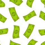 Modèle sans couture de flux financier Fond en baisse des dollars Pluie de vol d'argent liquide Photographie stock libre de droits