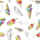 Modèle sans couture de fond d'aquarelle avec la crème glacée  illustration stock