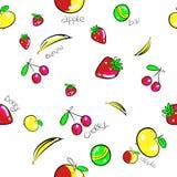 Modèle sans couture de fond d'illustration de banane-figue de baies Images libres de droits