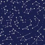 Modèle sans couture de fond de constellation carte de zodiaque illustration stock