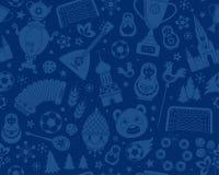 Modèle sans couture de fond du championnat 2018 russes du football du football de coupe du monde Photographie stock libre de droits