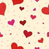Modèle sans couture de fond rouge de coeurs Image libre de droits