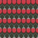 Modèle sans couture de fond de vecteur avec des lumières de Noël de coccinelle illustration de vecteur