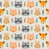 Modèle sans couture de forêt avec le renard, le raton laveur, le lapin et le chat Images stock