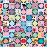 Modèle sans couture de forme de diamant de bâton du Japon de visite Photos stock