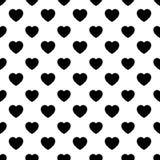 Modèle sans couture de forme simple de coeur dans la disposition diagonale Amour et fond romantique de thème Vecteur noir et blan Illustration Libre de Droits