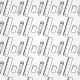Modèle sans couture de fournitures de bureau d'école Images stock