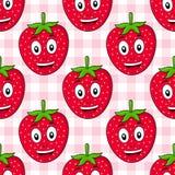 Modèle sans couture de fraise de bande dessinée Image stock