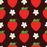 Modèle sans couture de fraise de vecteur Photos stock