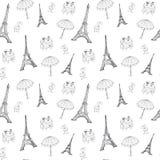 Modèle sans couture de Frances avec Tour Eiffel Image libre de droits
