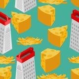 Modèle sans couture de fromage râpé et de râpe Fond de nourriture Ingr illustration stock