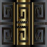 Modèle sans couture de frontière principale grecque de luxe abstraite du méandre 3d Le VE illustration de vecteur
