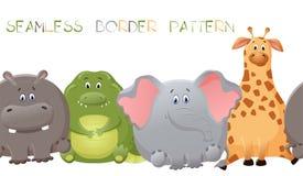 Modèle sans couture de frontière de vecteur avec l'éléphant, la girafe, le crocodile, et l'hippopotame Gros personnage de dessin  illustration libre de droits