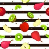 Modèle sans couture de fruit mûr de poire de kiwi de pomme Le fond rayé avec les pommes juteuses Delicious de kiwi de poires déco Photographie stock libre de droits