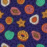 Modèle sans couture de fruit tropical coloré tiré par la main d'isolement Photos stock