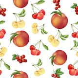 Modèle sans couture de fruits et de baies d'aquarelle Images stock